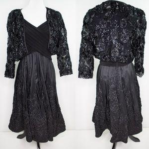 ADRIANNA PAPELL Fit & Flare Dress w/ Shrug Sz 14